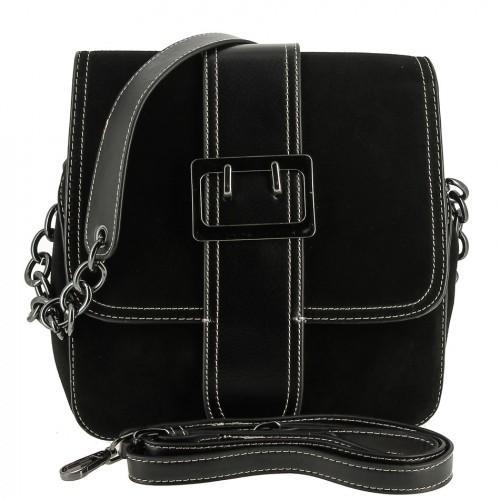 Женская сумка из кожи и замши 177 BLACK