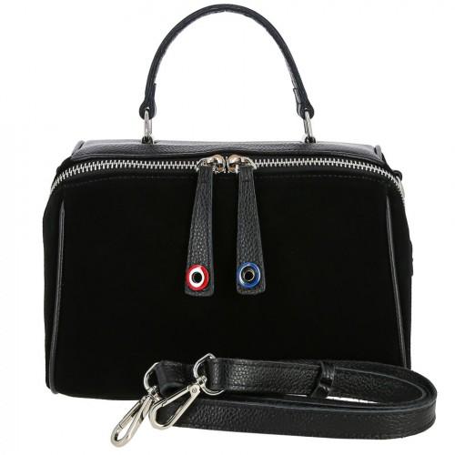 Женская сумка из кожи и замши 28088-1 BLACK