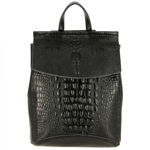 Женский кожаный рюкзак 656-1 BLACK