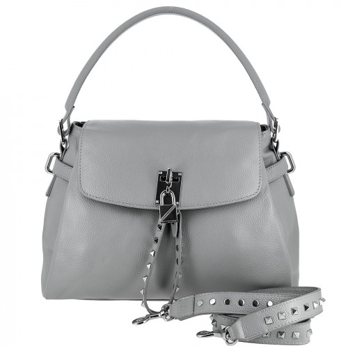 Женская кожаная сумка 8093 GREY