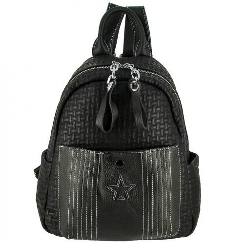 Женский кожаный рюкзак 8368 BLACK