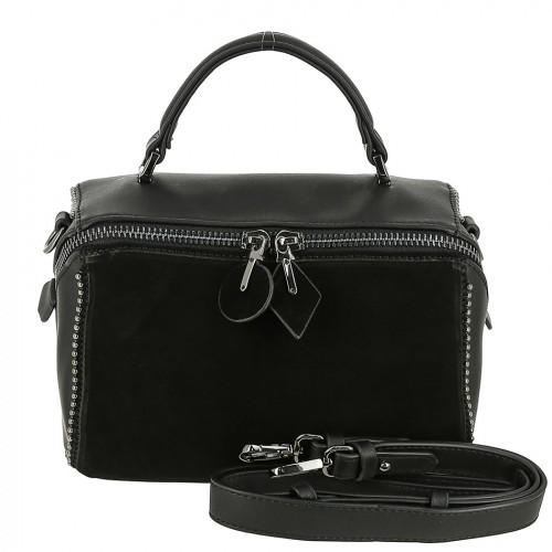 Женская сумка из кожи и замши 9535-M BLACK